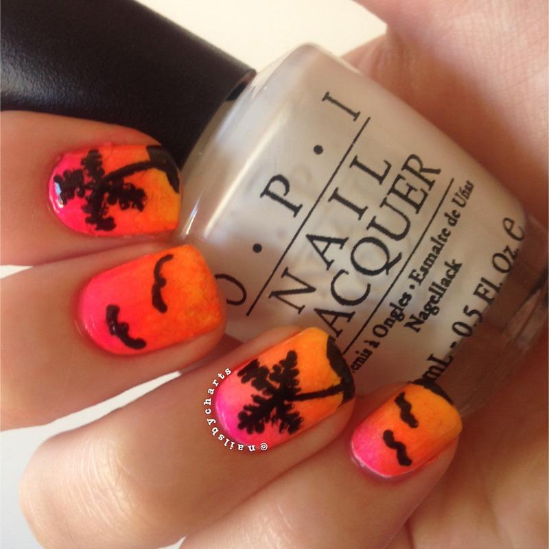 tropical island nail art by Claudia