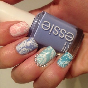pastel paisley nail art by Claudia