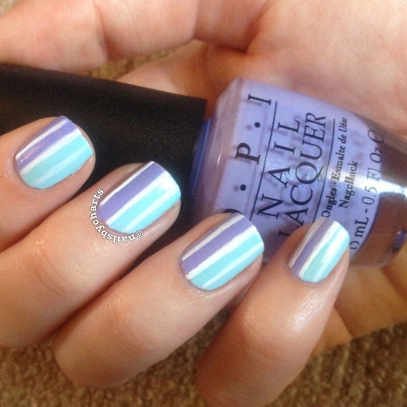 pastel stripes nail art by Claudia