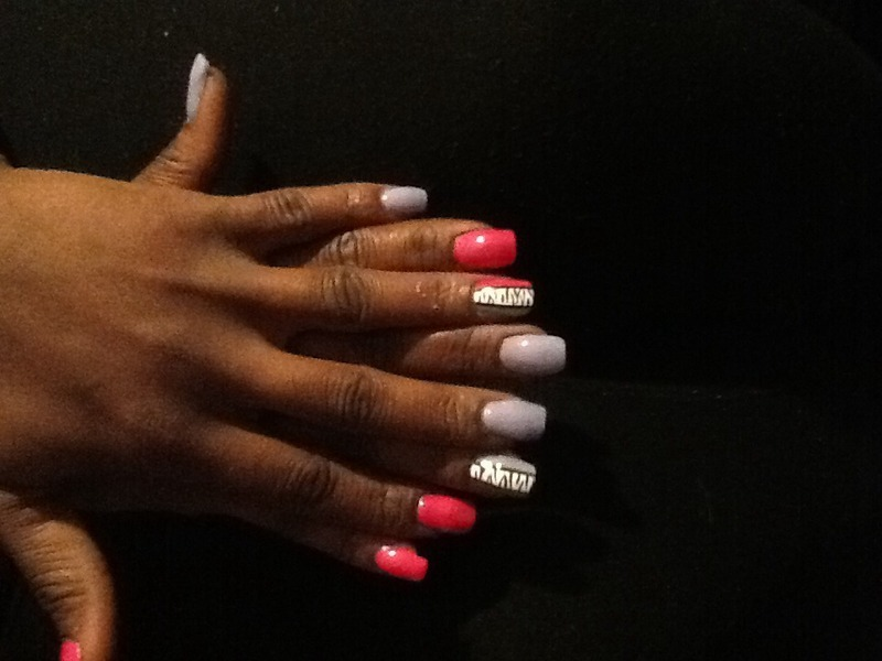 The love of stripes, zebra strips! nail art by Nashyia