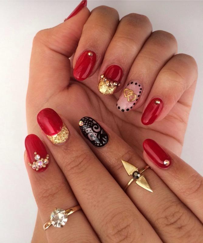 Valentines Day nail art by Miriam