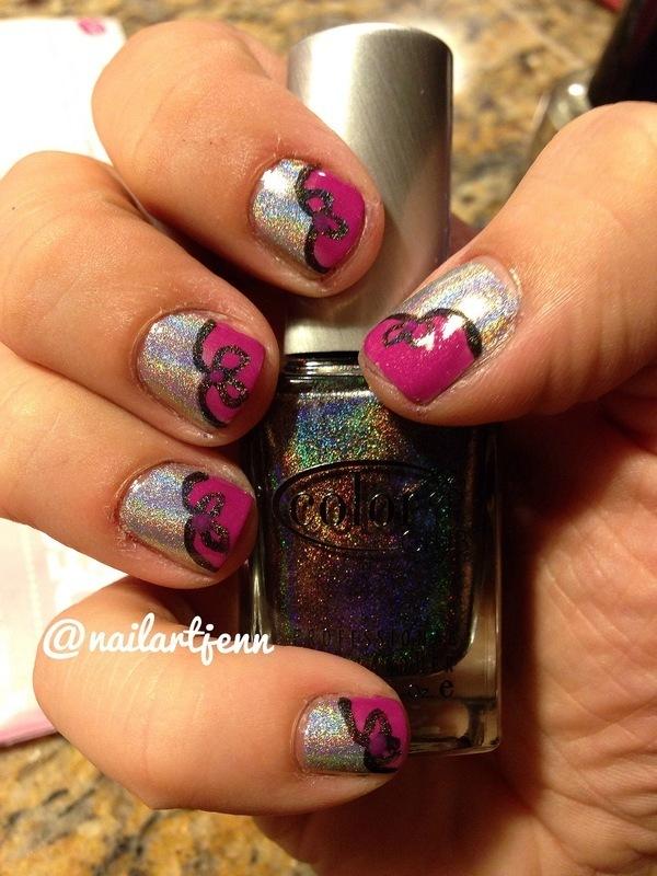 Pink Heart Bows nail art by Jenn