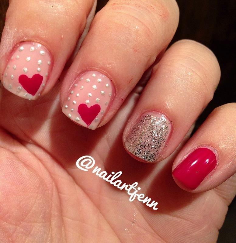 Polka Dots and Hearts nail art by Jenn