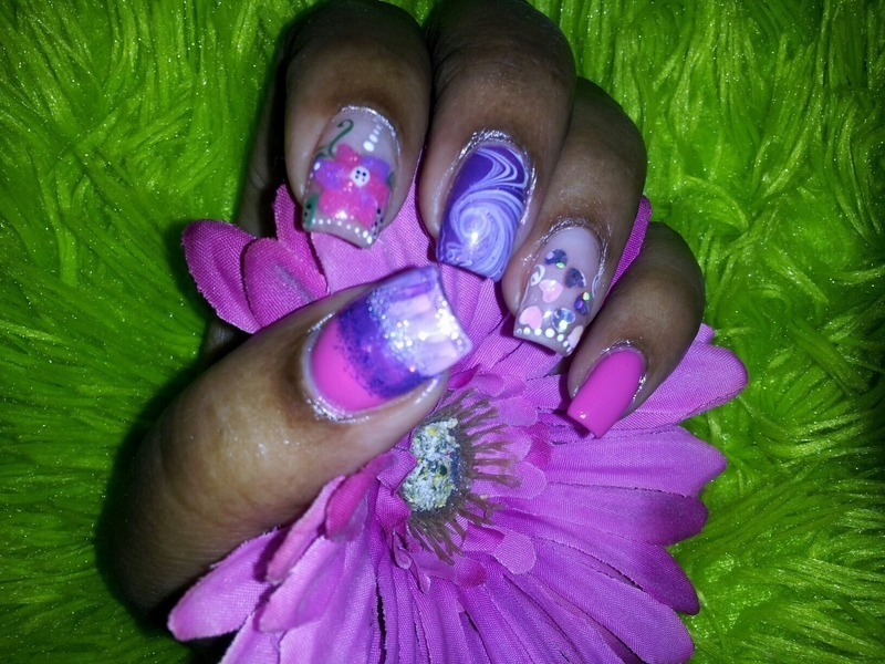 Pretty Mixture nail art by Lady NyCole