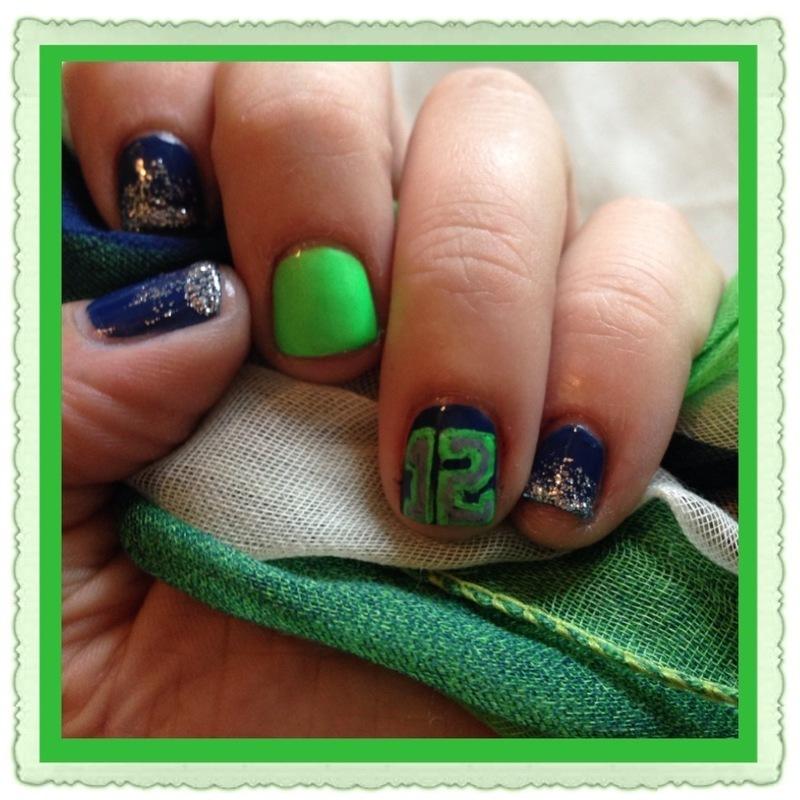 Seahawks Fan Mani nail art by Jenn