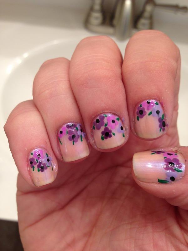 Flowers nail art by Jenn
