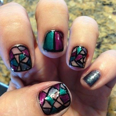 Stained Glass nail art by Jenn