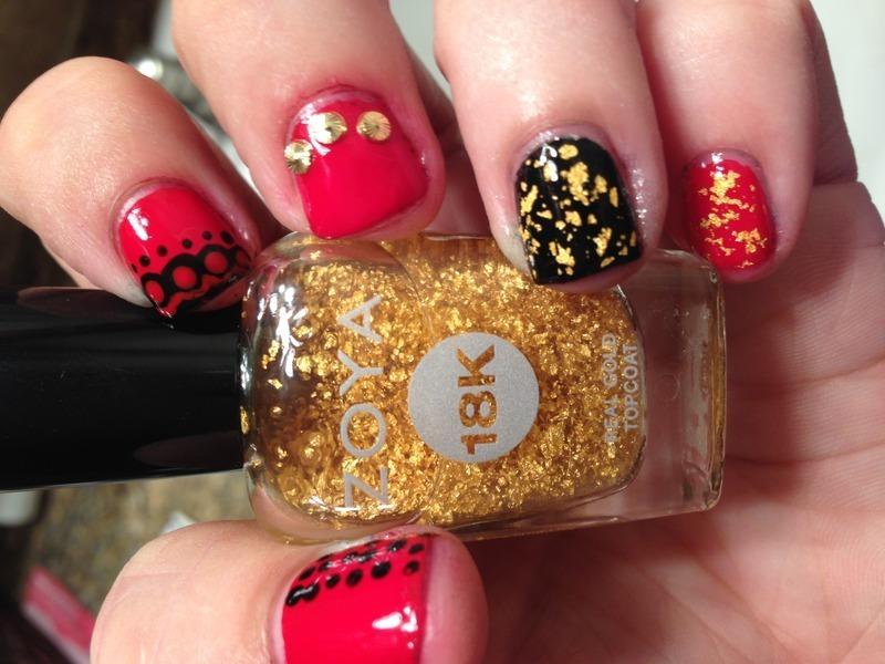 Red Carpet nail art by Jenn