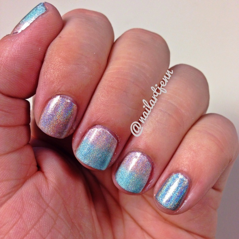 Holographic Ombre nail art by Jenn
