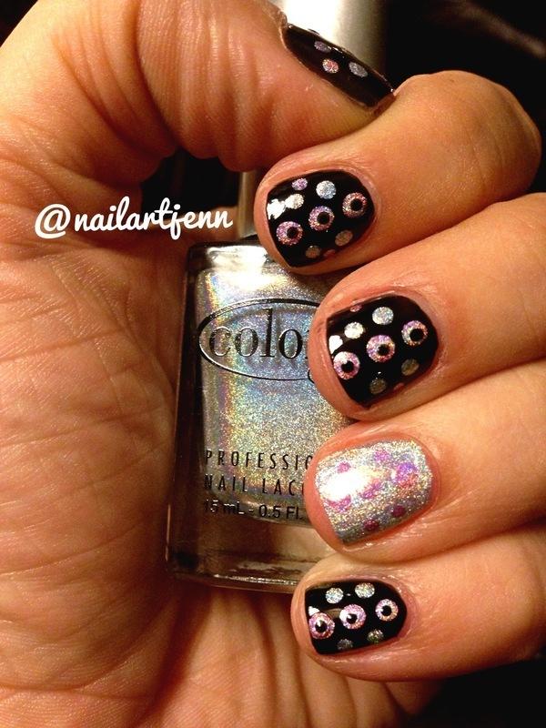 Holographic Dots nail art by Jenn