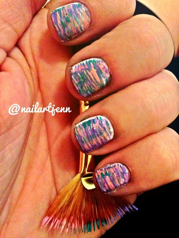 Fan Brush Art nail art by Jenn