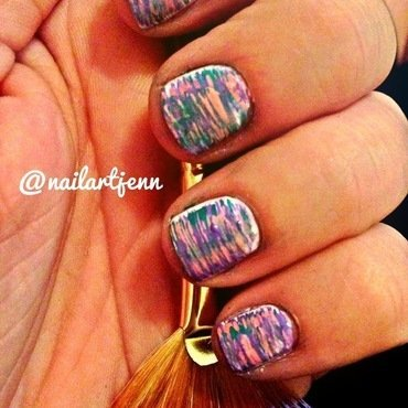 Fan Brush Art nail art by Jenn