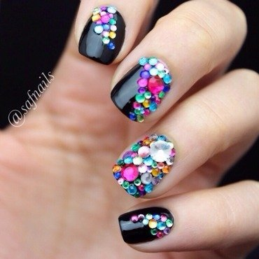 Colourful Gems nail art by Saf Nails