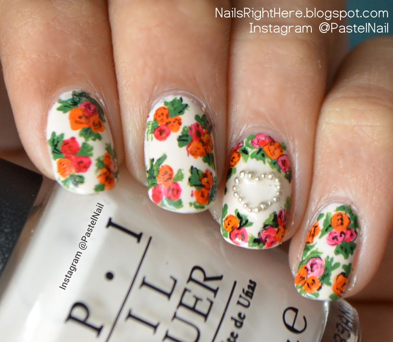 Roses for Valentine nail art by Rupali Bahl