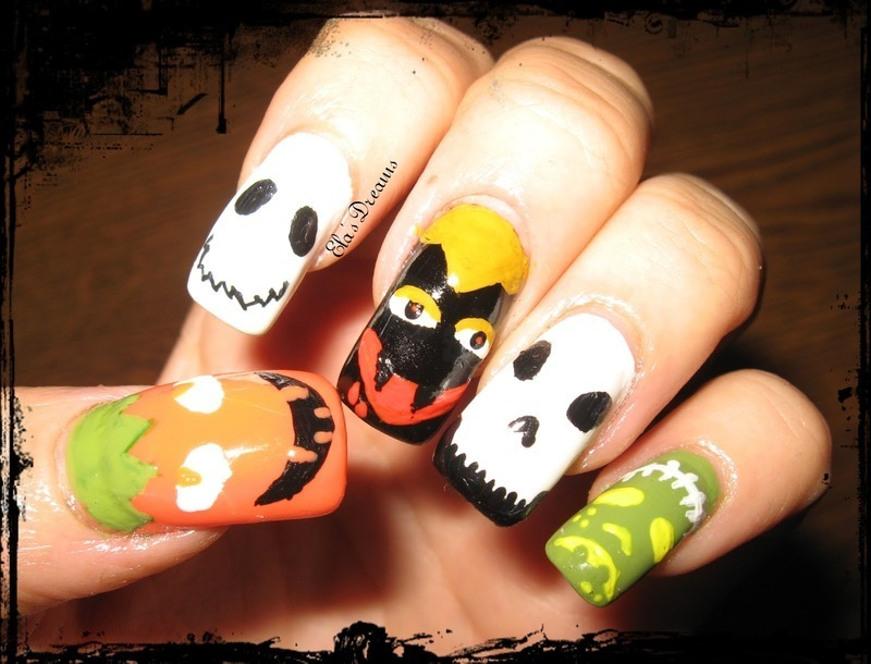 Halloween monster Nails nail art by Ela's Dreams