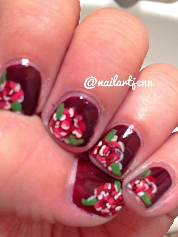 Vintage Roses nail art by Jenn