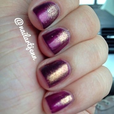 Purple and Gold Gradient nail art by Jenn