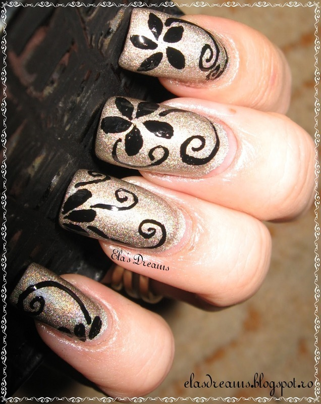 Flowers and Swirls nail art by Ela's Dreams