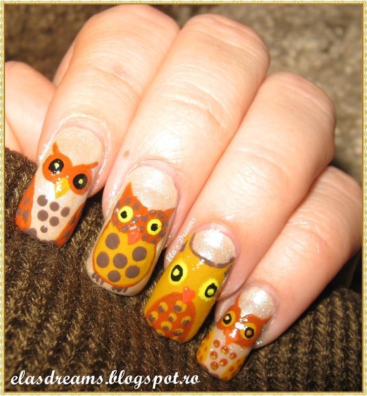 My little owls nail art by Ela's Dreams
