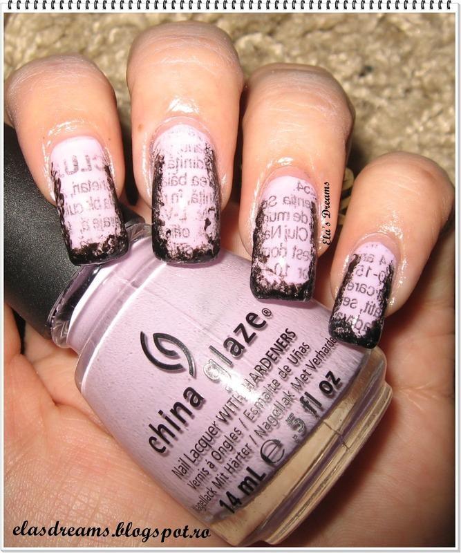 Burned Newspaper nails nail art by Ela's Dreams