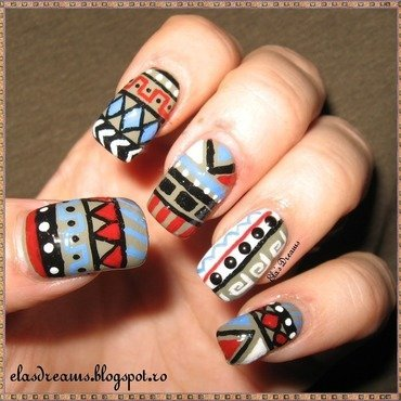 Tribal Nails nail art by Ela's Dreams