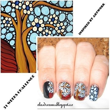 "Inspired By Artwork ""The Loving Tree"" nail art by Ela's Dreams"