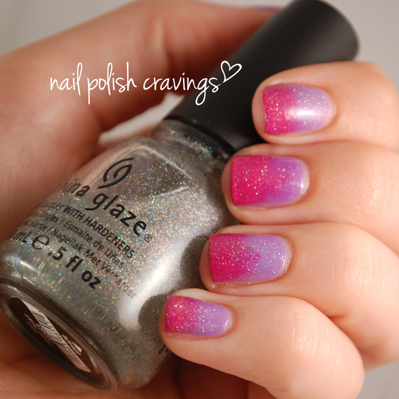 Gradient featuring fairy dust nail art by Benna