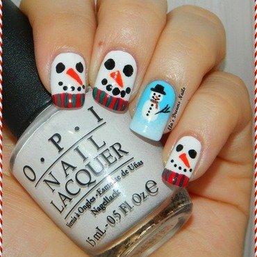 Snowmen Nails nail art by Ela's Dreams