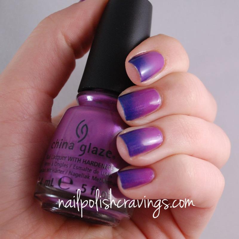 Purple-blue Gradient nail art by Benna