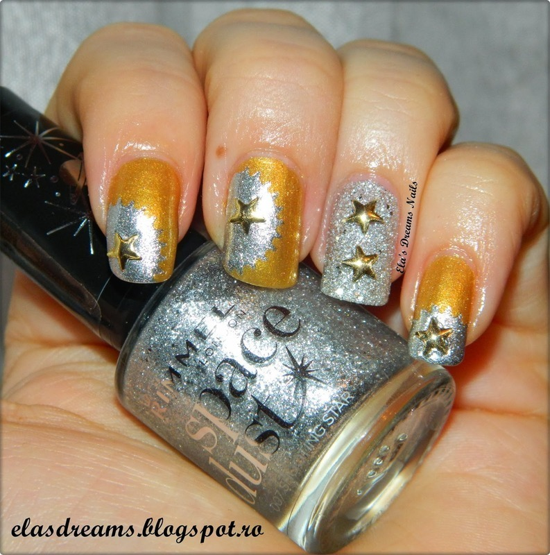 Silver And Gold nail art by Ela's Dreams