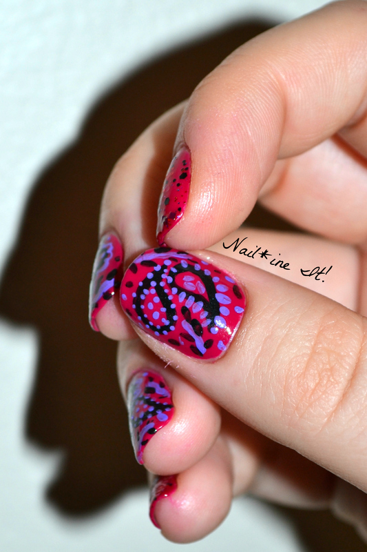 Be My Paisley Valentine nail art by Christine of Nail*ine It!