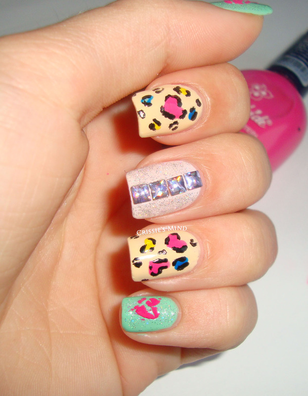 Heart Leopard nail art by Christina