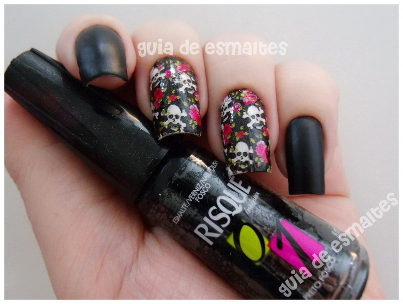 Matte Black Nails with Skulls & Flowers Decals nail art by Effy ...
