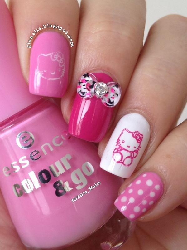 Hello Kitty nail art by Giovanna - GioNails