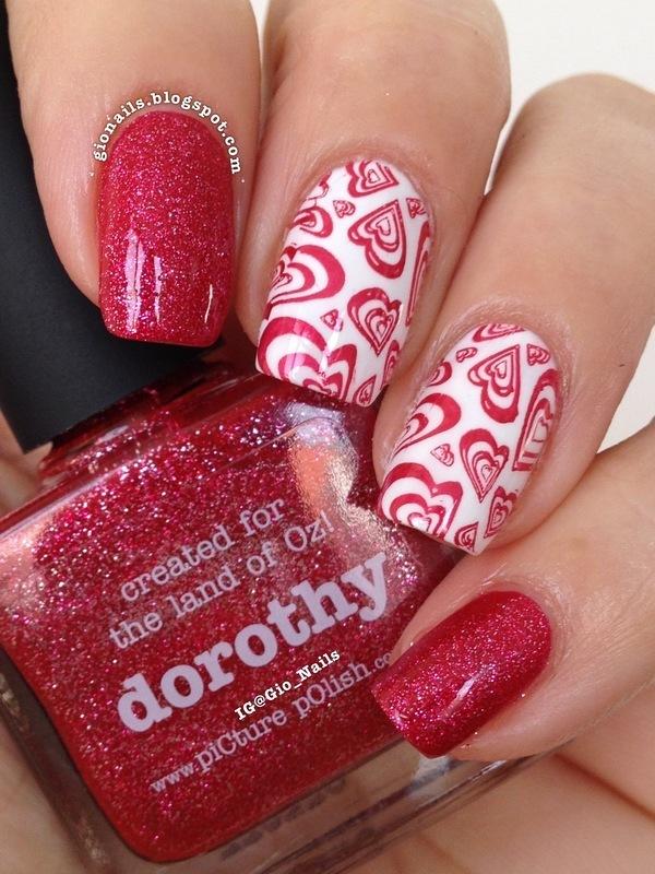 Red Hearts nail art by Giovanna - GioNails