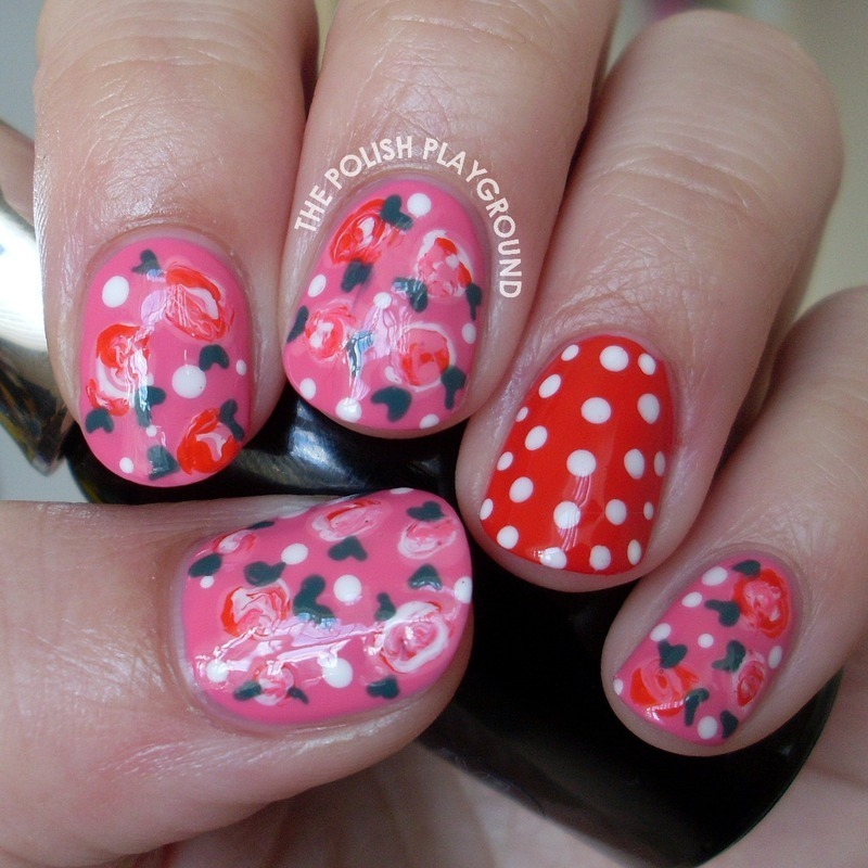 Romantic Roses with Polka Dots nail art by Lisa N