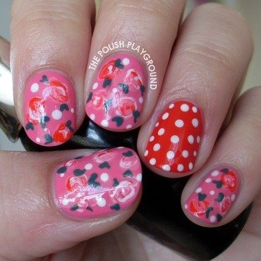 Romantic roses with polka dots nail art thumb370f