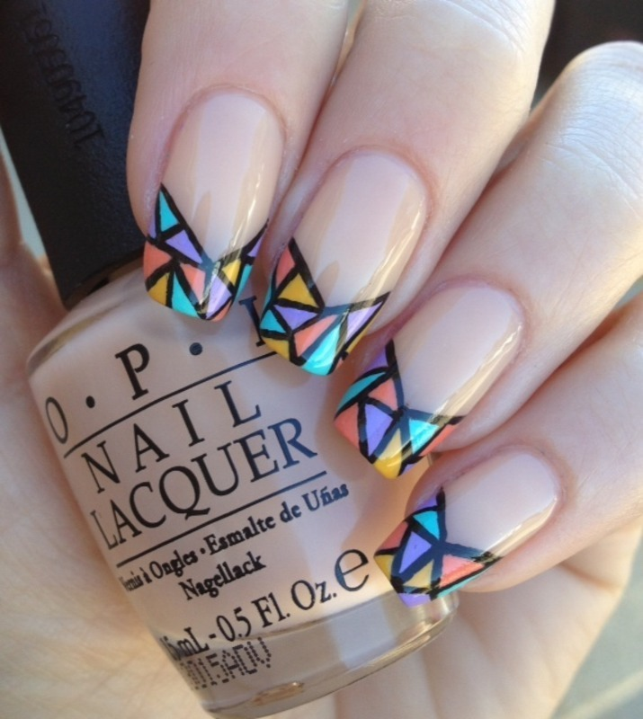Stained glass tips nail art by Jess