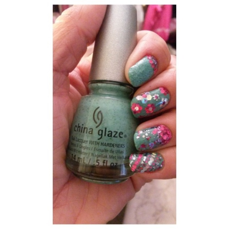 Loaded Lacquer Giddy Up Glitter Placement nail art by Genevieve  Clay-Poor