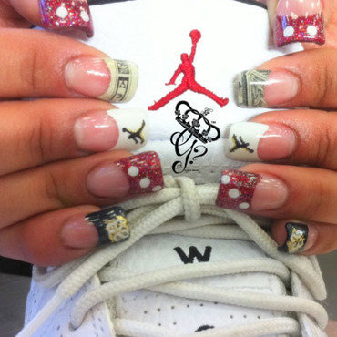 Dice, jays & money nail art by G's Nails N' Creations