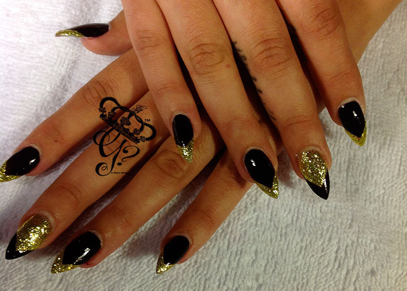 Black and gold french stiletto nail art by G\'s Nails N\' Creations ...
