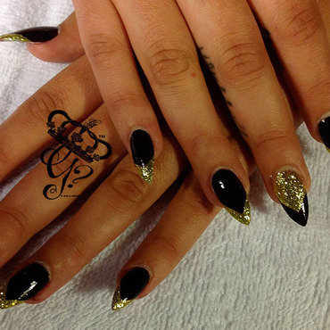 Black and gold french stiletto nail art by G's Nails N' Creations