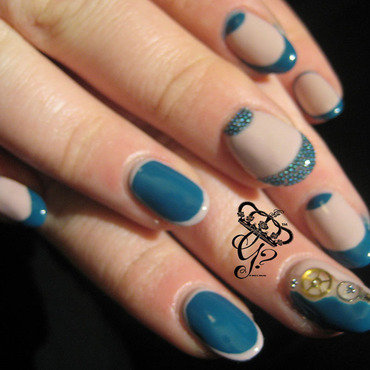 Half moons, gears and borders nail art by G's Nails N' Creations
