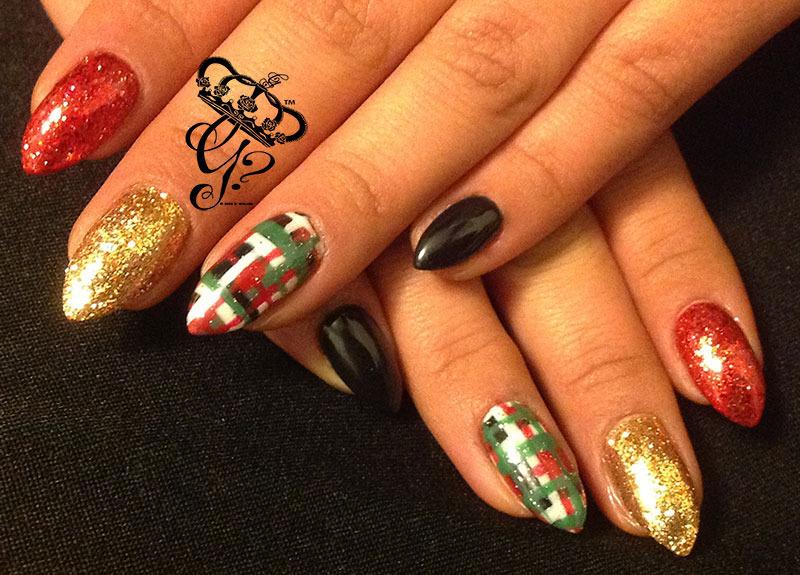 Xmas plaid nail art by G's Nails N' Creations