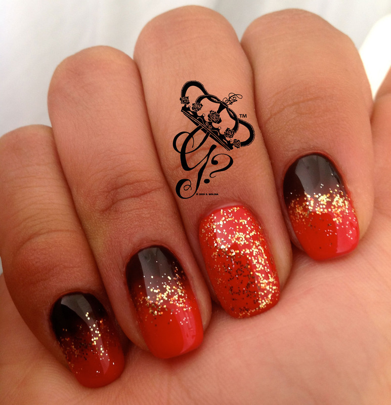 Red, black and gold ombre nail art by G's Nails N' Creations
