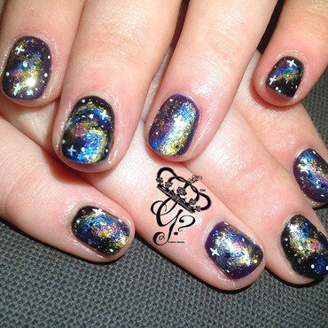 Galaxy  nail art by G's Nails N' Creations