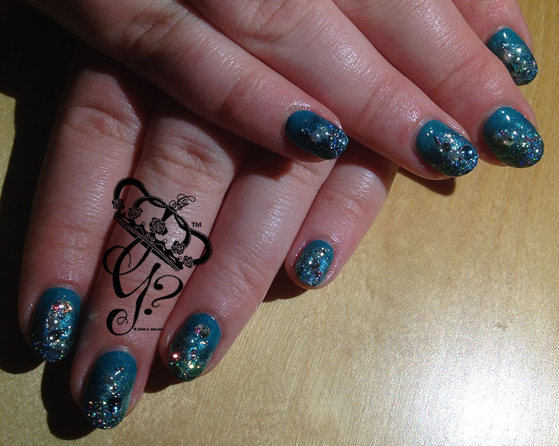 Teal gradient nail art by G's Nails N' Creations