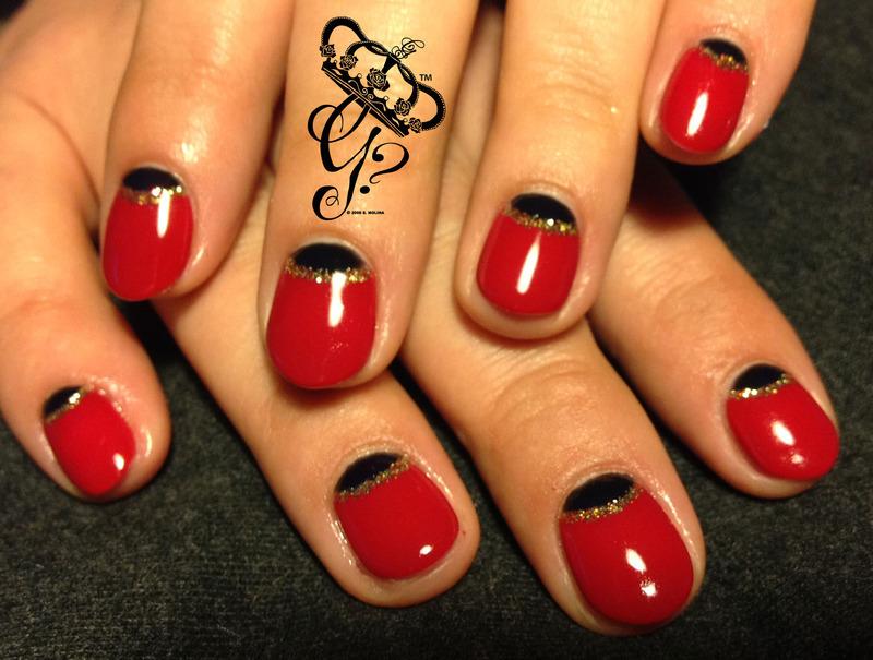 Black + red halfmoon nail art by G's Nails N' Creations
