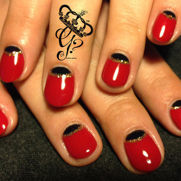 Black + red halfmoon nail art by G's Nails N' Creations