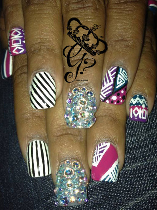 Tribal mix nail art by G's Nails N' Creations